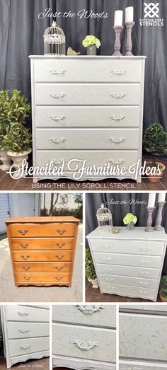 A DIY stenciled dresser using the Lily Scroll Furniture Stencil. http://www.cuttingedgestencils.com/scroll-craft-stencil.html