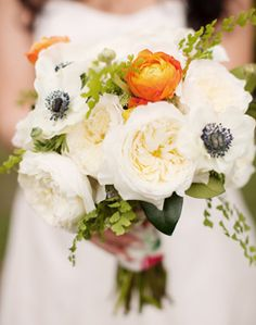 Orange Ranunculus, white garden roses, and Anenome  Repinned by #loricoleevents