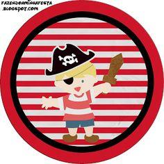Pirata Menino - Kit Completo com molduras para convites, rótulos para…