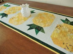 Pineapple Table Runner, Quilted Tropical Topper, Summer Dresser Scarf, Scrappy Yellow Green White, Gift for Her, Hawaiian Home Décor Hawaiian Home Decor, Hawaiian Homes, Quilted Table Toppers, Quilted Table Runners, Diy Crafts For Kids Easy, Kids Crafts, Easy Diy, Everyday Table Decor, Cute Pineapple
