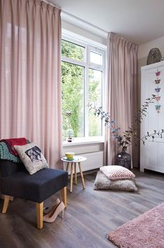 Pair of Pedal Pink Curtains Linen blend pink drapery Custom curtains extra long extra wide nurs Pair of Pedal Pink Curtains Linen blend pink drapery Custom Room Design, Pink Curtains, Interior, Curtains Living Room, Home Decor Trends, Bedroom Design, Home Decor, Cosy Home Decor, Interior Design