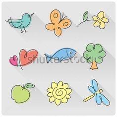 Set van kleine aard tekenen van vogel, vlinder, bloem, harten, vis, boom, apple, zon en dragonfly