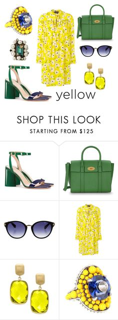 """Ring of Fire Yellow"" by leiastyle on Polyvore featuring Tory Burch, Mulberry, Zac Posen, Rochas, Effy Jewelry and Gucci"