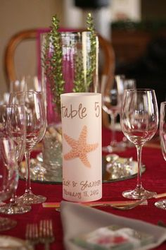 Starfish Table Numbers, beach wedding table number www.loveitsomuch.com