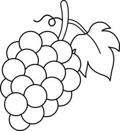 Line Art of Grapes For Coloring