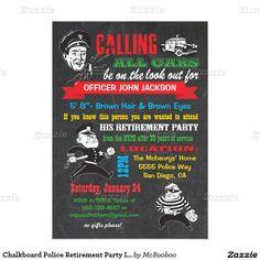 "Chalkboard Police Retirement Party Invitations 5"" X 7"" Invitation Card"