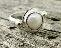 Rustic Sterling Fresh Water Pearl Ring with Off Set Band