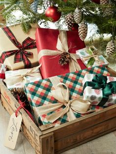 Love this idea !Personalized Vintage Crates Used under tree with all family' member's Gifts gathered imside !
