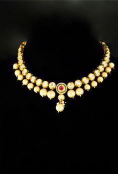 Elegant kundan necklace set with pearl drop