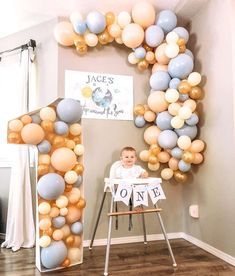 Boys First Birthday Party Ideas, 1st Birthday Party Decorations, Balloon Decorations Party, 1st Boy Birthday, Boy Birthday Parties, Balloon Garland, 1st Birthday Balloons, Its A Boy Balloons, Boy Decor