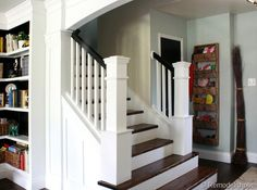 Staircase remodel--from carpet to wood. -- DIY stair Remodel, removing carpet and new newel posts Redo Stairs, House Stairs, Carpet Stairs, Wall Carpet, Basement Stairs, Buy Carpet, Stair Newel Post, Newel Posts, Stairs