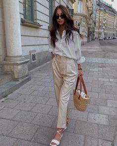 Zalando Style, White Outfits For Women, White Shirts Women, Clothes For Women, Classy Outfits, Trendy Outfits, Fashion Outfits, Long White Shirt Outfit, Shabby Chic