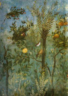 Villa di livia, affreschi di giardino, parete corta meridionale, dettagllio 01 - Affreschi del ninfeo sotterraneo della villa di Livia - Wikipedia