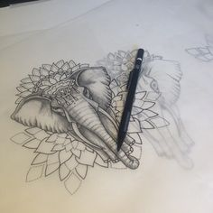Loving the idea of incorporating mandalas or geometric shapes in my elephant tattoo.maybe just a mandala on my shoulder right above where I'll have my elephant heads. Kunst Tattoos, Bild Tattoos, Body Art Tattoos, New Tattoos, Tattoo Drawings, Sleeve Tattoos, Female Tattoos, Tattoo Sketches, Temporary Tattoos