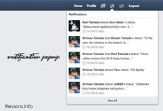 Facebook Style Notification Popup using CSS and Jquery