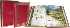 Rare books. VALLARD ATLAS, The Huntington Library. San Marino (USA). 68 pages, 15 double-page nautical charts. Red leather binding with gold decoration. Full-colour comentary volume.