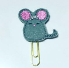Mouse planner clip grey mouse paperclip grey mouse by DottyMooShop