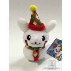 Pokemon Center 2015 Christmas Illumination Campaign Pikachu Snowman Mascot Plush Keychain (Male Version With Scarf)