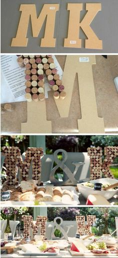 Cork monogram letters cork décor wine themed bridal shower DIY monogram wine cork letters Popular with the Poplins - 28 New Diy Cork Projects Inspiration Wine Craft, Wine Cork Crafts, Wine Bottle Crafts, Wine Cork Letters, Monogram Letters, Wine Cork Monogram, Wood Letters, Monogram Fonts, Wine Cork Projects