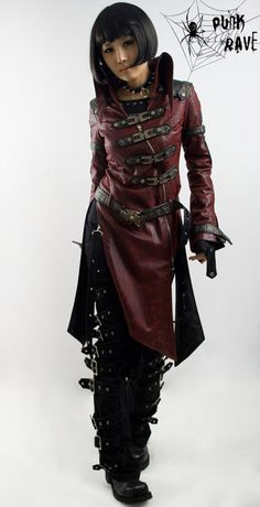PunkRave Visual Kei Jacket  (Yeah, I eternally get drawn to each and every long, dark red vinyl-y coat like this. Thanks a lot, Dante and Vincent, for that perpetual influence.)