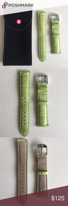 Michele 18mm genuine Alligator watch strap Kiwi green Alligator watch strap. This exotic strap is easily interchangeable with any 18mm MICHELE watch, the stainless steel Buckle has the signature logo engraving. New Condition-never worn. Michele Accessories Watches