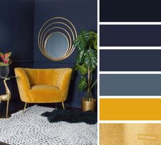 The best living room color schemes Navy blue yellow mustard and gold color schem. - The best living room color schemes Navy blue yellow mustard and gold color schemes - Good Living Room Colors, Living Room Color Schemes, Living Room Designs, Apartment Color Schemes, Lounge Colour Schemes, Family Room Colors, Navy Living Rooms, New Living Room, Blue Couch Living Room