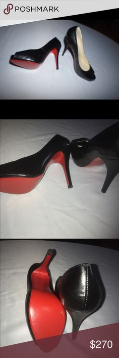 Christian louboutin Women's heels Black leather open toe high heels. Red bottoms worn 3 times in very Good condition. Size 38 Christian Louboutin Shoes Heels