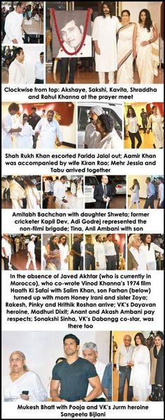Bollywood grieves for Vinod Khanna - Pune Mirror #FansnStars