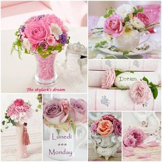 "Pink roses, ""Dream"" ""Monday"" mood/color collage"