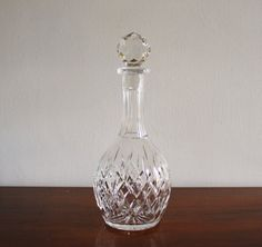 Vintage leaded crystal decanter with finial by highstreetmarket, $48.00