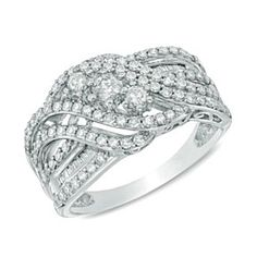 Solid 10K White Gold 1-1/2 Ct D/VVS1 Layered Three Stone Slant Ring by JewelryHub on Opensky