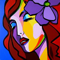 """Saatchi Art is pleased to offer the painting, """"Artgirl Flower,"""" by Marcel Burger. Original Painting: Acrylic on Canvas. Size is 0 H x 0 W x 0 in. Girl Face Drawing, Face Art, Abstract Portrait, Portrait Art, Female Portrait, Cubist Art, Cubism, Arte Pop, Mural Painting"""