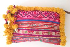 In love with this bohemian Pom Pom Clutch -  Yellow.  Check out more colours and styles in our Home and Tribe range #tribal #boho #mochila #wayuu