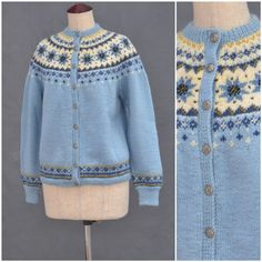 Vintage Norwegian Cardigan 1960s blue by VintageGreenClothing