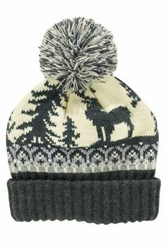 Stag Pattern Knitted Bobble Hat