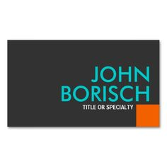 Modern Cool Colors Orange Turquoise Business Card  #businesscards  http://www.zazzle.com/ctek101*