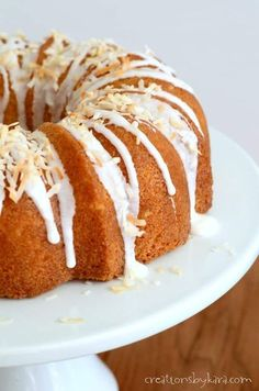 Decadent Cream of Coconut Cake - this Coconut Bundt Cake is made from scratch, and the flavor and texture are incredible! #coconutbundtcake #coconutcake #madefromscratchcoconutcake #creationsbykara #bundtcake #sourcreamcoconutcake Coconut Desserts, Coconut Recipes, Homemade Desserts, Just Desserts, Delicious Desserts, Coconut Cakes, Sour Cream Coconut Cake, Cookie Recipes, Dessert Recipes