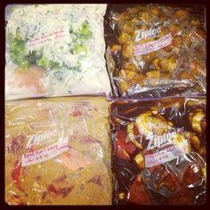 Freezer/Slow cooker meals: Chicken Broccoli Alfredo, Maple Dijon Chicken, Mongolian Beef