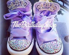 Disney Sofia the first Lavender Swarovski converse Disneyland Birthday shoes Princess toddler