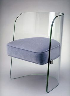 Chair, Louis Dierra  - Glass with synthetic upholstery, Pittsburgh Plate Glass Co., c. 1939  Exhibited at the 1939 New York World's Fair