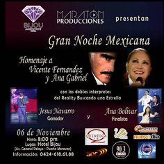 La Gente de Punto Fijo Esta activada para este fin de semana El cual comienza con el Miércoles 4 y jueves 5 con los cócteles mexicanos y un buen tequila y el 6 de Noviembre A LA NOCHE MEXICANA EN HONOR A VICENTE FERNÁNDEZ y ANA GABRIEL EN @bijouamethyste No te Lo Puedes Perder Este 6 de Noviembre a las 8pm Av General Pelayo -Puerta Marven Información: 0424-618.61.88