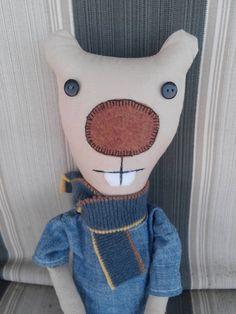 Rag Doll: Bellamy Beaver. Handmade, recycled fabrics by MadebyMarielle on Etsy -- cute friend for boy or girl