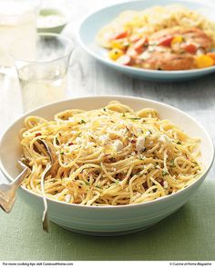 Garlic Spaghetti - Cuisine at Home! - This is the side dish to go with the Chicken Pomodoro.