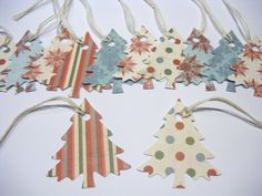 CHRISTMAS TREE Gift Tags & String Wrap Party Decoration Scrapbooking Embellishments Set of 12 on Etsy, $1.50