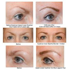 Before and After SofTap permanent makeup eyebrows and eyeliner.  www.hellobeautifulface.com