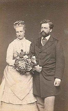 Prince Philipp of Saxe-Coburg and Gotha and his bride, Princess Louise of Belgium.