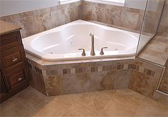 Tile idea for style and color for master bathroom (floor, tub, and shower - including the decorative strip of tiles) Bathroom Renos, Small Bathroom, Master Bathroom, Bathroom Ideas, Bathroom Designs, Bathtub Tile, Jacuzzi Tub, Corner Tub, Master Bath Remodel