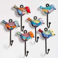 Handpainted ceramic bird shaped hook