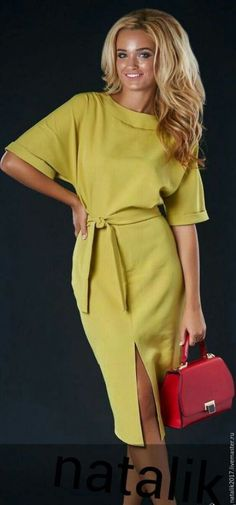 Solid half sleeve midi X-line dress, gorgeous dress, women's wear, preorder. Mode Outfits, Chic Outfits, Dress Outfits, Fashion Dresses, Simple Dresses, Day Dresses, Casual Dresses, Dresses For Work, Office Dresses