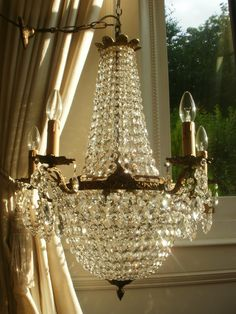 Vintage French Empire Bronze Crystal Chandelier Antique Lighting